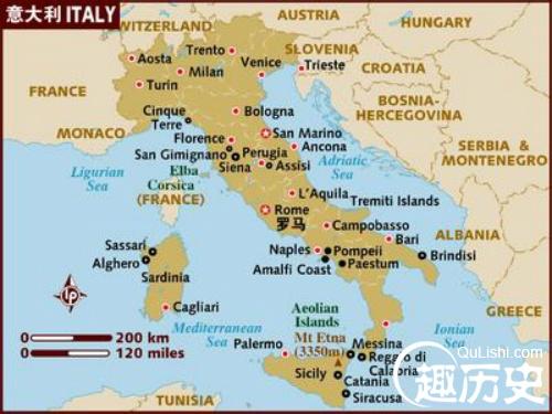 意大利——世界史意大利地图