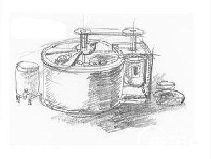 该洗衣机的主件是一只圆桶,桶内装有一根带有桨状叶子的直轴.