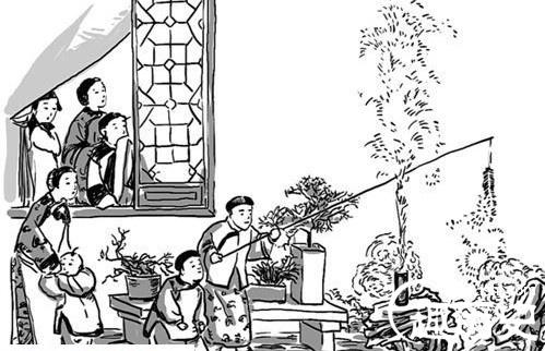 爆竹古风手绘图片