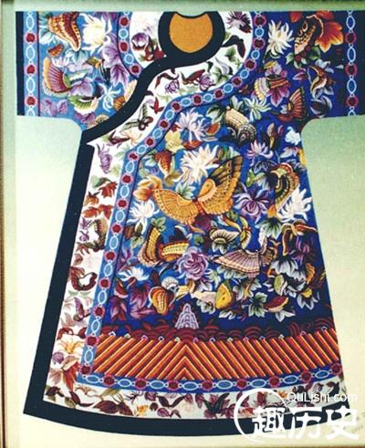 清朝服饰之:清代皇后百蝶袍