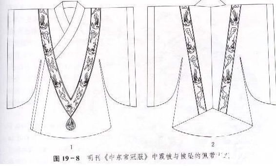霞帔是一种帔子,它的形状象两条彩练,绕过头颈,披挂在胸前,下垂一颗金玉坠子。霞帔早在南北朝时期就已出现,隋唐以后,人们常赞美这种服饰美如彩霞,所以有了霞帔的名称。白居易《霓裳羽衣舞歌》中就有虹裳霞帔步摇冠的形容。到了宋代,已正式将它用作礼服,并随着品级的高低在刺绣纹样而有所不同。  明代霞帔  免责声明:以上内容源自网络,版权归原作者所有,如有侵犯您的原创版权请告知,我们将尽快删除相关内容。